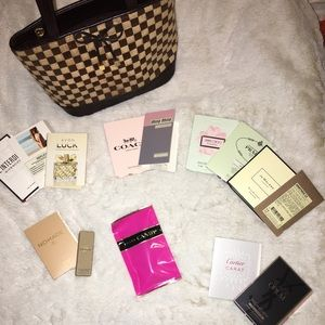 Designer fragrance samples & cute bag